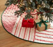 Pottery Barn Patchwork Quilt 60 Christmas Tree Skirt Vintage Farmhouse Appeal