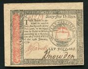 January 14, 1779 65 Sixty Five Dollars Continental Currency Note Unc