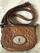 Fossil Maddox Chestnut Brown Stamped Embossed Logo Leather Crossbody Hand Bag