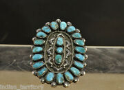 Zuni Sterling Silver Ring With Turquoise Cluster Settings C.1950 Size 7 1/2