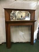 Antique Mirrored Oak Mantle Late 1800s Arts And Crafts W/ Art Nouveau Influence