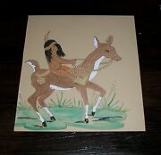 Bo Hill Moses Native American Indian Boy Rides Deer Southwest Decor Art Painting