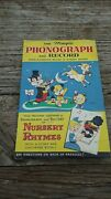 Vintage Magic Phonograph And Record Of Nursery Rhymes And Coloring Book Toy