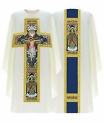 Cream Gothic Chasuble Holy Trinity With Matching Stole G778-k26 Us
