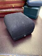 Antique Navy Blue Fabric Ring Box With Velvet And Silk Interior 2x1.75x1.5