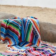 Ethnic Mexican Style Blanket Beach Towel Picnic Table Cloth Stripped Sofa Throws
