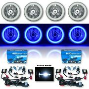 5-3/4 Blue Smd Led Halo Crystal Clear Glass H4 Headlight And 6k Hid Bulb Set Of 4