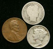 Old Us Coin Estate Lot Barber Dime Wheat Cent Mercury Dime 3 Coin Set