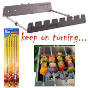 7 Skewer Rotisserie Rack Grill Automatic Rotating Motor Operated Bbq Set