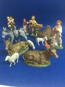 Rare Vintage Nativity Plastic Figures Lot X12 Fontanini Made In Italy