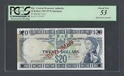 Fiji 20 Dollars Nd1974 P75s2 Specimen About Uncirculated
