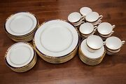 Spode Envoy 60 Piece 12 Place Settings Dinner Salad Bread Plate Cup Cobalt Gold