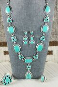 Navajo Turquoise And Sterling Silver Jewelry Set - Raymond Delgarito