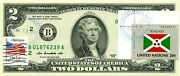 2 Dollars 2013 Stamp Cancel Flag Of Un From Burundi Lucky Money Value 125