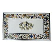 48 X 30 Marble Table Top Semi Precious Stone Inlay Work With Wooden Stand