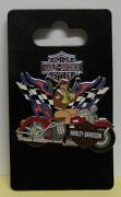 Harley Davidson Pin Girl On Motorcycle With Two Flags Pin
