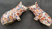 Rare Antique Chinese Imari Hand Painted Porcelain Pig Figurines Marked