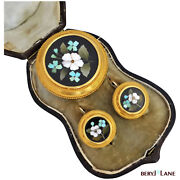 Superb Victorian 20k Gold Pietra Dura Cased Earrings And Brooch/pendant Set