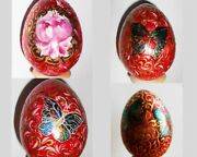 Russian Wooden Eggs Easter Hand Painted In Cultures Ethnicities Style Khokhloma