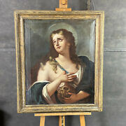 Antique Painting Oil On Canvas Maria Magdalene Xviii Century Period And039700 Frame