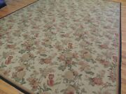 9x12 French Aubusson Design Needlepoint Oriental Area Rug Floral Green Rust