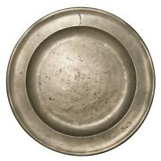 Mid-late 18th C Robert Burch Sr Antique Lg English 13.5 Pewter Charger W/hlmrk