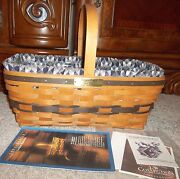 Longaberger Jw Collection 1993 Edition Easter Basket, Liner And Protector And Papers