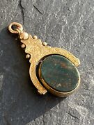Victorian Yellow Gold Bloodstone Carnelian Spinning Fob Seal Pendant