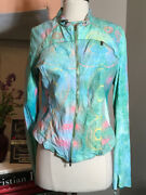The People Of The Labyrinths Teal Peach Leather Graphic Jacket 2400-83-12820