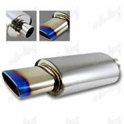 Universal 5.5 Euro Oval Burnt Tip 2.5 Inlet T-304 Stainless Exhaust Muffler