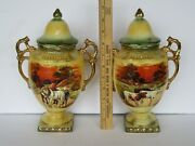 2 Stunning Antique Lancaster And Sons Hanley England Hand Painted Vase Urns