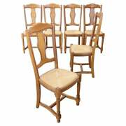 20th Century Italian Solid Oak Wood Set Of Six Chairs With Straw Seat