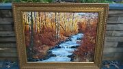 Large Oil Painting In Ornate Frame River Trees And Pheasants Scene Signed