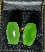 Hand Carved Natural Jadeite Cufflinks With Gold Tone Metal