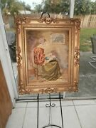 Large Antique Portrait Lady Needlepoint Victorian Knitting Labor Of Love