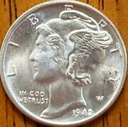 1942 Mercury Dime Uncirculated Check It Out Aa179-8