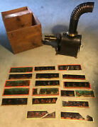 Antique 1890and039s Ernst Plank Ep Magic Lantern Slide Projector Slides And Box-germany