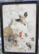 Early Ching Rosewoodflorallandscape/ Embroidered /25 Ins X18 Ins/hawk/crane