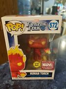 Funko Pop Marvel Collector Corps Human Torch 572 Glow In The Dark Fantastic 4