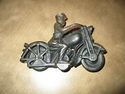 Vintage Cast Iron Toy Motorcycle Early 1900