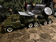 Rare Structo Metal Vintage Toy Guided Missile Launcher Truck Trailer Light 50andrsquos