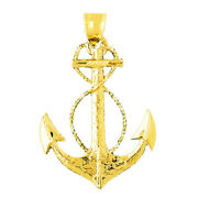 New Real Solid 14k Gold Sailor Rope With Ship Anchor Charm Pendant
