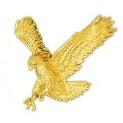 New Real Solid 14k Gold 50mm Hunting Eagle Charm Pendant