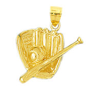 New Real Solid 14k Gold Baseball In Glove And Bat Charm Pendant