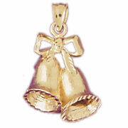 New Real Solid 14k Gold Christmas Bells With Bow Charm Pendant