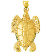 New Real Solid 14k Gold 40mm Long Sea Turtle Charm Pendant