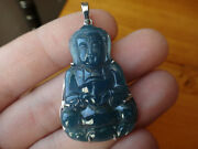 18k Solid White Gold Natural A Jadeite Jade Icy Blue Kwan Yin Pendant