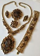 Verified Vintage Juliana D And E Tortoise Shell Cameo Necklace Full Parure