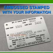 Chevrolet Data Plate Tag 75 76 77 78 C10 C20 Gmc Truck Pick Up Camper