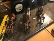 Vintage Cast Iron Toy Steam Pumper Fire Engine X2 And Ladder Engine X1- Lot Of 3